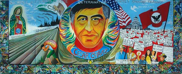 Artwork of malakai schindel for Cesar chavez mural