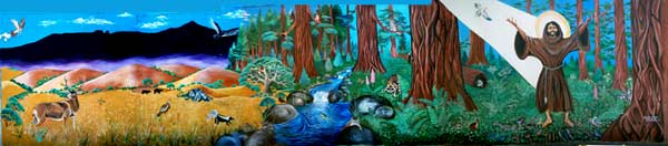 """SAINT FRANCIS IN THE REDWOODS""  - Mural by Malakai Schindel"